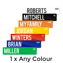 1 x Metal Street Sign 10x45cm (Any Colour) incl Delivery