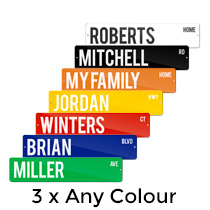 3 x Metal Street Sign 10x45cm (Any Colour) incl Delivery