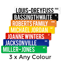 3 x Metal Street Sign 10x52cm (Any Colour) incl Delivery