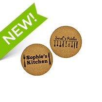 2 x Personalised Cork Coaster 95mm incl Delivery
