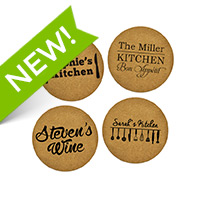 4 x Personalised Cork Coaster 95mm incl Delivery